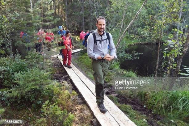Crown Prince Haakon of Norway walks the Refugee Route towards Vangen ski cabin on August 26, 2020 in Oslo, Norway. .