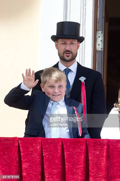 Crown Prince Haakon of Norway with Prince Sverre Magnus of Norway on the balcony of The Royal Palace in Oslo to celebrate Norway's National Day on...