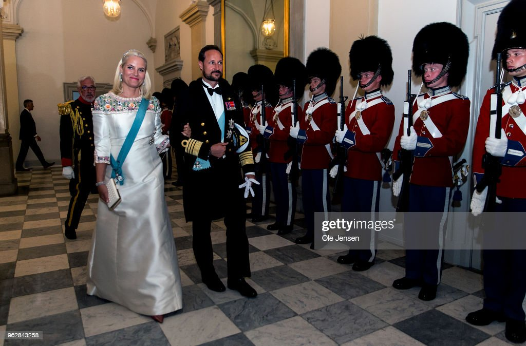 Crown Prince Haakon of Sweden and wife Crown Princess Mette-Marit arrive to the gala banquet on the occasion of The Crown Prince's 50th birthday at Christiansborg Palace on May 26, 2018 in Copenhagen, Denmark. Some 350 guest participated in the event