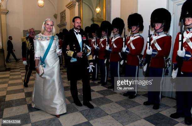 Crown Prince Haakon of Sweden and wife Crown Princess MetteMarit arrive to the gala banquet on the occasion of The Crown Prince's 50th birthday at...