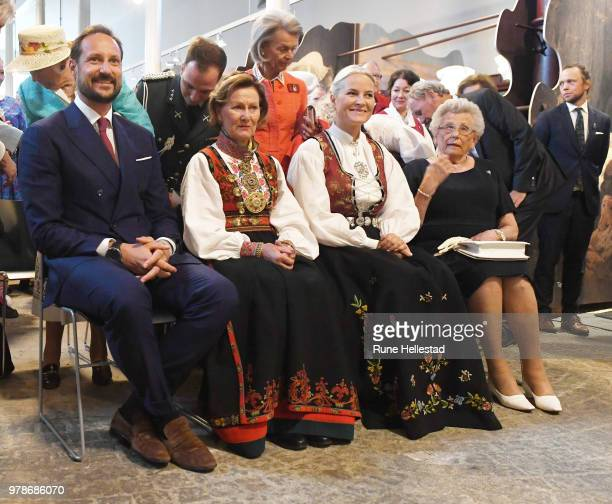 Crown Prince Haakon Queen Sonja Crown Princess Mette Marit and Princess Astrid Fru Ferner are seen during the opening of the exhibition 'Tradition...