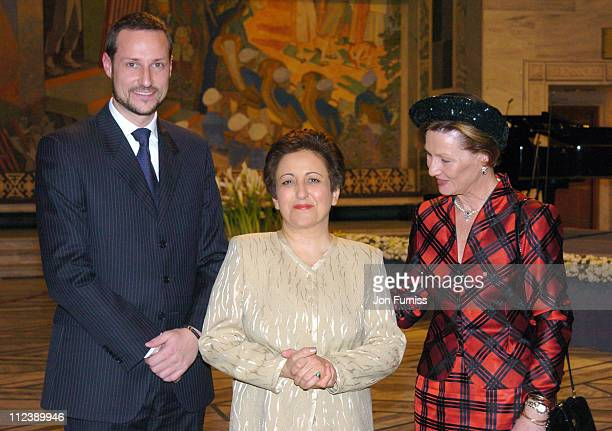 Crown Prince Haakon Shirin Ebadi winner the 2003 Nobel Peace Prize and Queen Sonja of Norway