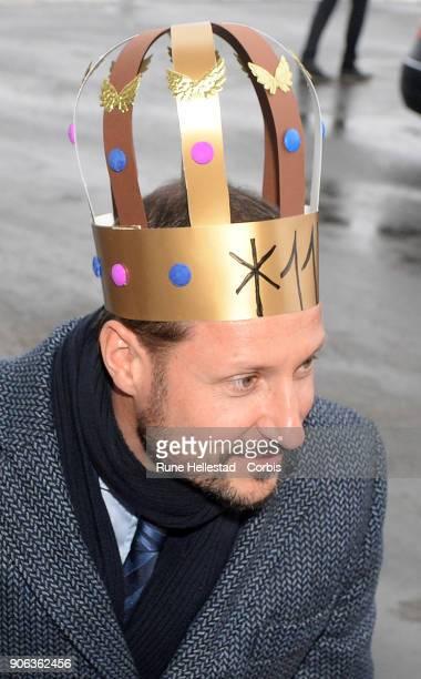 Crown Prince Haakon visits Borregaard on January 18, 2018 in Sarpsborg, Norway.