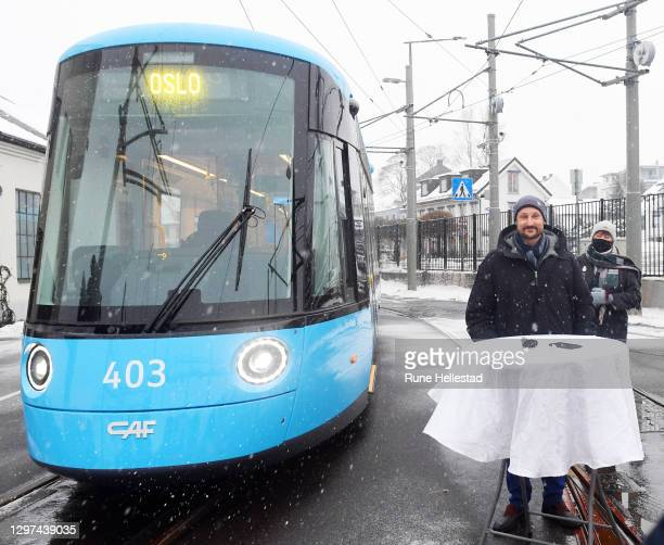 Crown Prince Haakon visits Oslo Public Transport Service on January 20, 2021 in Oslo, Norway. .