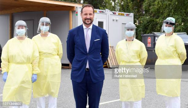 Crown Prince Haakon visits the mobile corona test station in Askim on September 8, 2020 in Indre Ostfold, Norway.