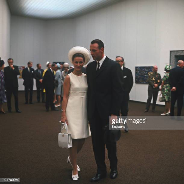 Crown Prince Harald of Norway and his fiance Sonja Haraldsen at the HenieOnstad Art Centre in 1968