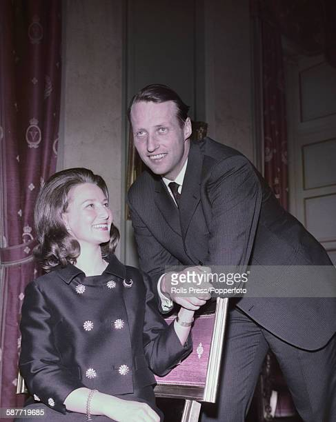 Crown Prince Harald of Norway pictured with his fiancee Sonja Haraldsen after the announcement of their engagement in Oslo on March 20th 1968 Prince...