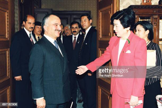 Crown Prince Hassan bin Talal of Jordan meets the Lower House speaker Takako Doi at the Diet Building on May 22 1995 in Tokyo Japan