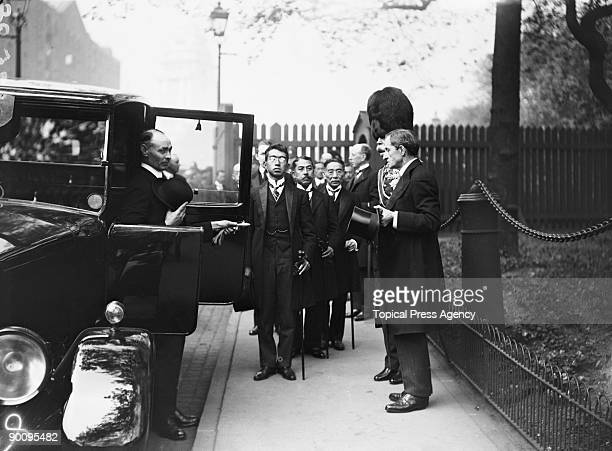 Crown Prince Hirohito of Japan arriving at the Tower of London where he is to inspect a parade of Grenadier Guards London May 1921 The Prince is on a...