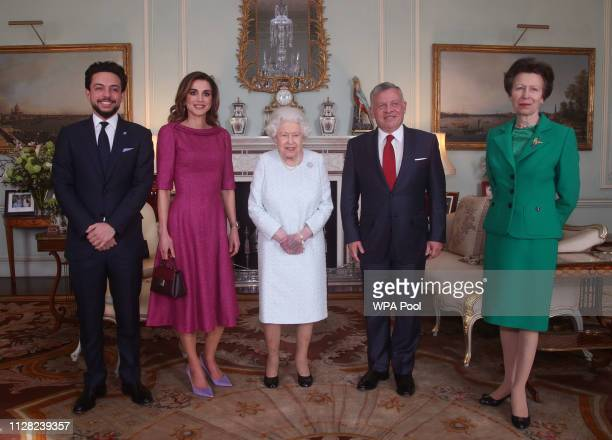 Crown Prince Hussein of Jordan Queen Rania of Jordan Queen Elizabeth II King Abdullah II of Jordan and Princess Anne Princess Royal during a private...