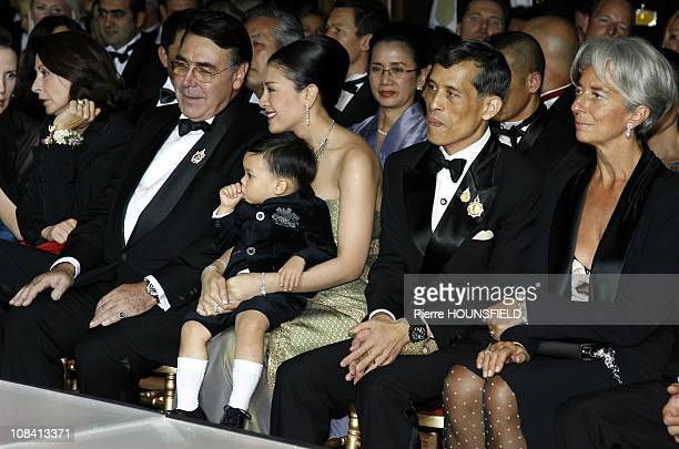 Crown Prince Maha Vajiralongkorn and family Mr Alain Hivelin in Paris France on September 29 2007