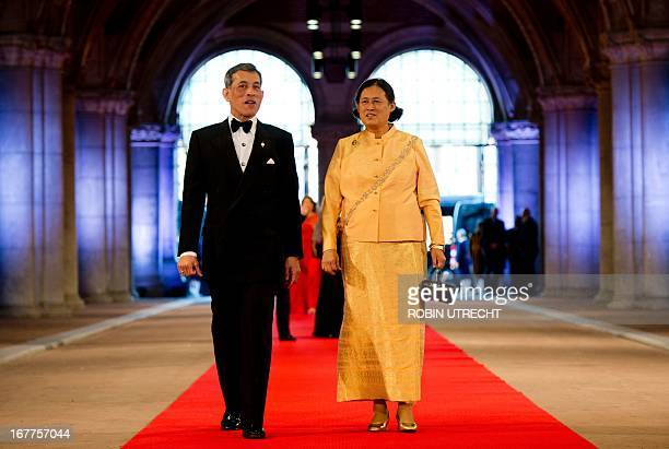 Crown Prince Maha Vajiralongkorn and princess Maha Chakri Sirindhorn of Thailand arrive on April 29 2013 to attend a dinner at the National Museum in...