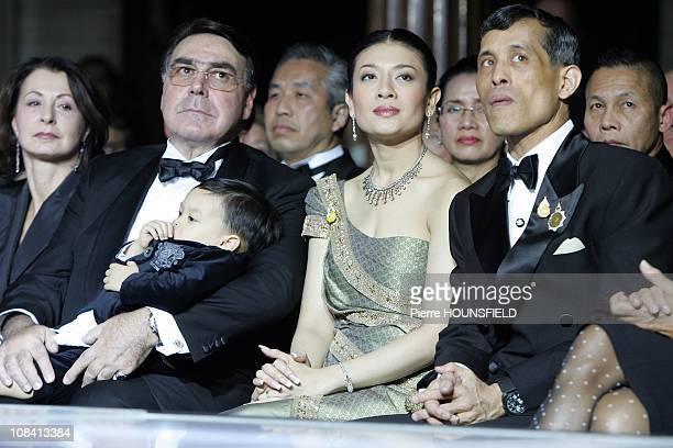 Crown Prince Maha Vajiralongkorn his wife Mr Alain Hivelin in Paris France on September 29 2007
