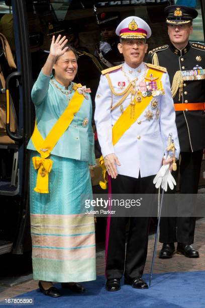 Crown Prince Maha Vajiralongkorn of Thailand and his sister Princess Maha Chakri Sirindhorn of Thailand arrive at the Nieuwe Kerk in Amsterdam for...