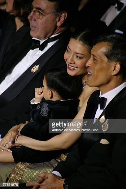 Crown Prince Maha Vajiralongkorn Princess Sri Rasmi and baby Prince Dipangkorn Rasmijoti during the Sirivannavari PrtPorter show as part of Paris...