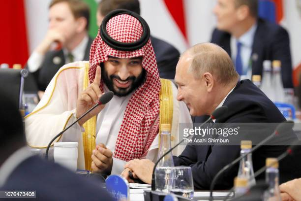 Crown Prince Mohammad bin Salman of Saudi Arabia and Russian President Vladimir Putin talk during the Argentina G20 Leaders' Summit 2018 at Costa...