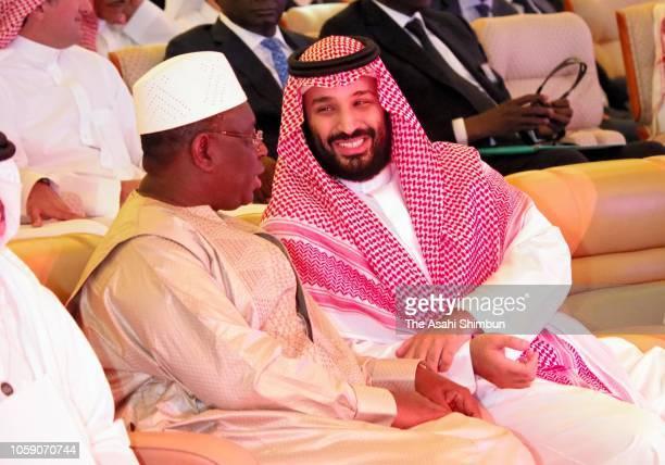 Crown Prince Mohammad Bin Salman of Saudi Arabia is seen during the Future Investment Initiative on October 24 2018 in Riyadh Saudi Arabia