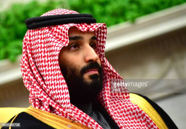 Crown Prince Mohammed bin Salman of the Kingdom of Saudi Arabia is seen during a meeting with President Donald Trump in the Oval Office at the White...