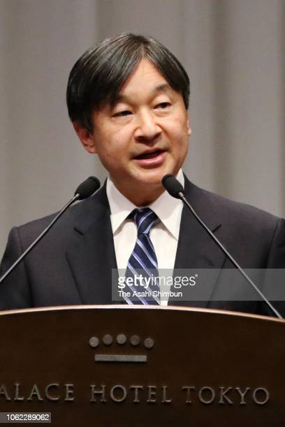 Crown Prince Naruhito addresses during the 150th anniversary ceremony of the lighthouse construction in Japan on November 01 2018 in Tokyo Japan