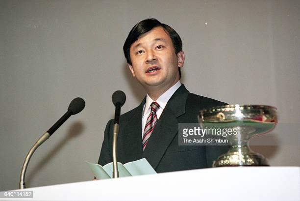Crown Prince Naruhito addresses during the opening ceremony of the Winter National Athletic Festival at Otaru City Gymnasium on February 18 1999 in...