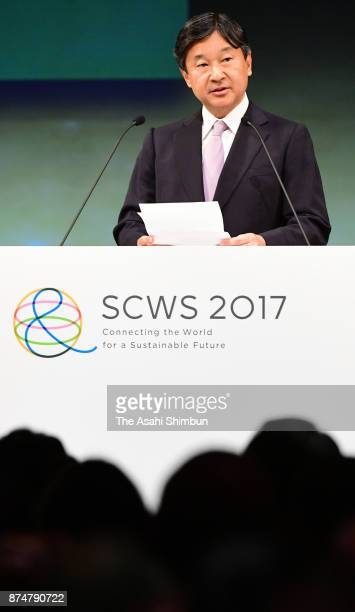 Crown Prince Naruhito addresses the opening remarks during the Science Centre World Summit Opening Ceremony at the National Museum of Emerging...