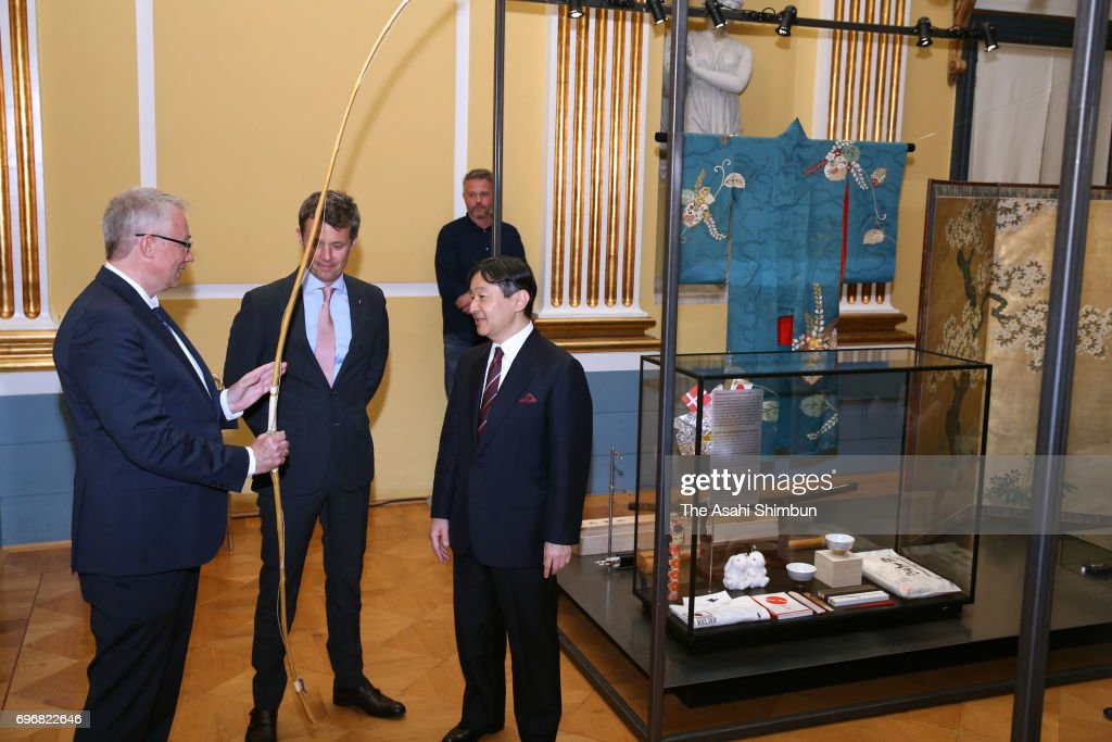Crown Prince Naruhito and Crown Prince Frederik of Denmark attend the the Japan exhibition in The Royal Family at the Amalienborg Museum on June 16, 2017 in Copenhagen, Denmark.