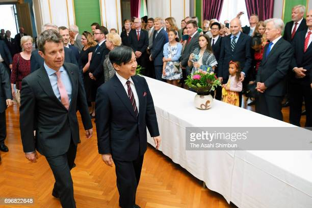 Crown Prince Naruhito and Crown Prince Frederik of Denmark attend the the Japan exhibition in The Royal Family at the Amalienborg Museum on June 16...