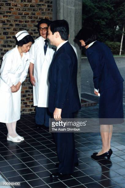 Crown Prince Naruhito and Crown Princess Masako are seen after seeing Princess Setsuko of Chichibu at the Imperial Household Agency Hospital in the...