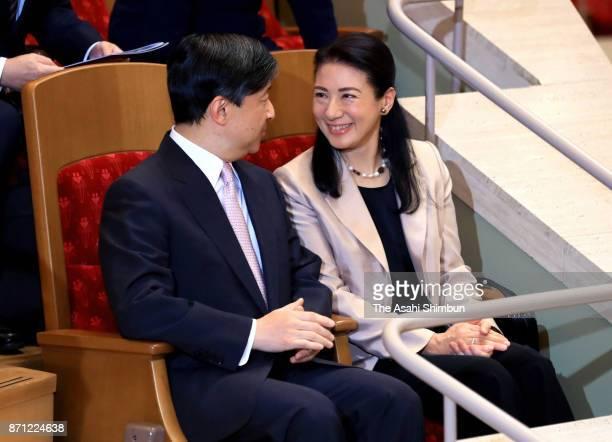 Crown Prince Naruhito and Crown Princess Masako are seen at the violinist Itzhak Perlman recital at Suntory Hall on November 2 2017 in Tokyo Japan