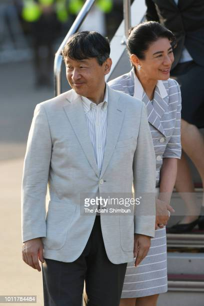 Crown Prince Naruhito and Crown Princess Masako are seen on arrival at Haneda Airport after visiting Hyogo prefecture on August 5 2018 in Tokyo Japan