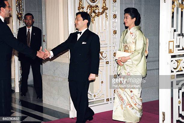 Crown Prince Naruhito and Crown Princess Masako are seen on arrival prior to a return reception by Grand Duke Jean and Grand Duchess Josephine...