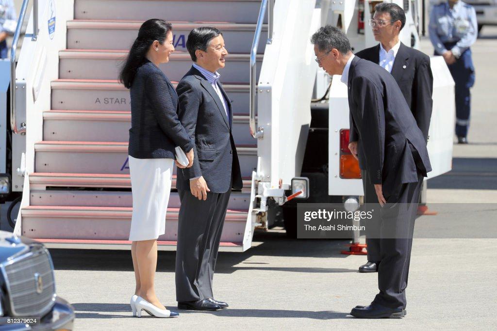 Crown Prince Naruhito and Crown Princess Masako are seen on arrival at the Akita Airport on July 10, 2017 in Akita, Japan.
