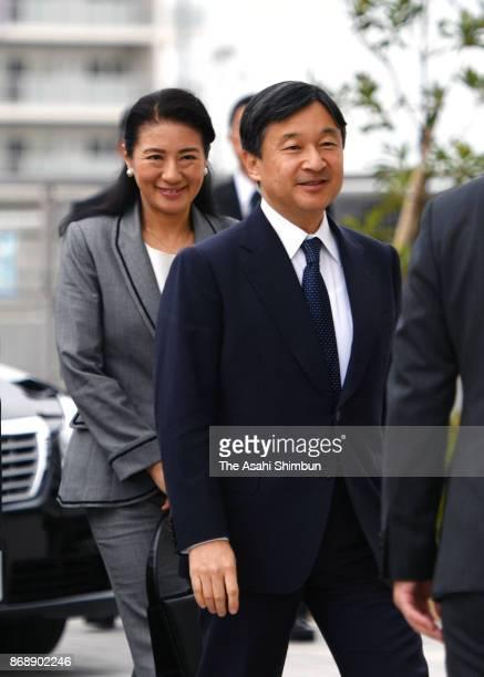 Crown Prince Naruhito and Crown Princess Masako are seen on arrival at a disaster residence to meet the survivors on November 1 2017 in Natori Miyagi...