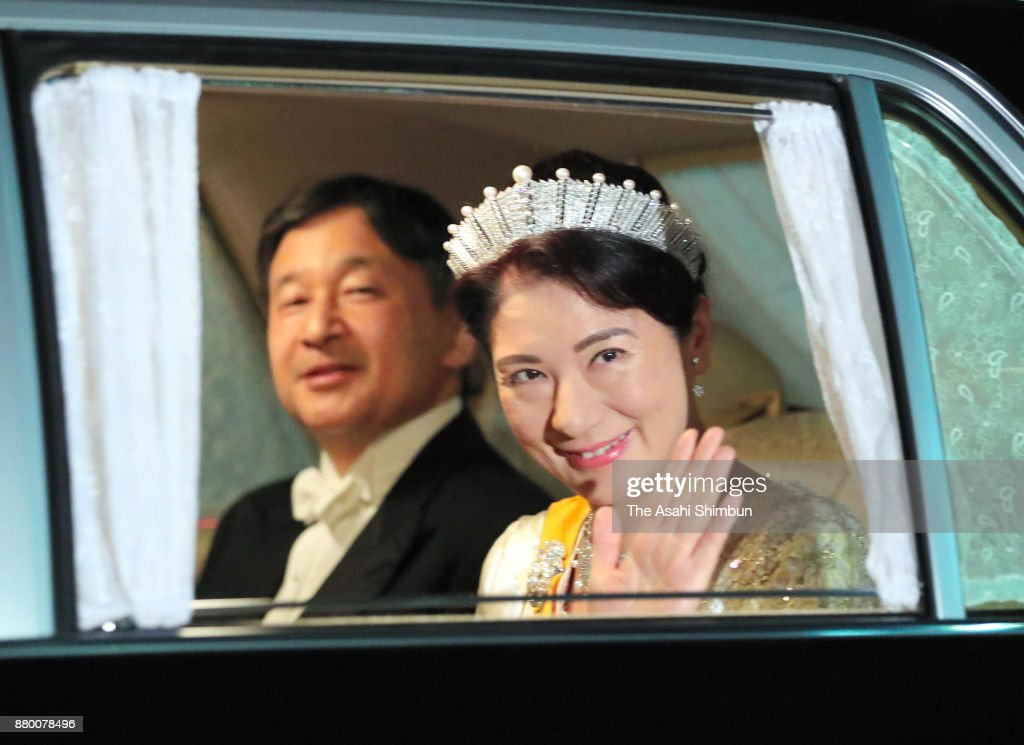 Crown Prince Naruhito and Crown Princess Masako are seen on arrival at the Imperial Palace to attend the state dinner for Grand Duke Henri of Luxembourg and his daughter Princess Alexandra of Luxembourg on November 27, 2017 in Tokyo, Japan.