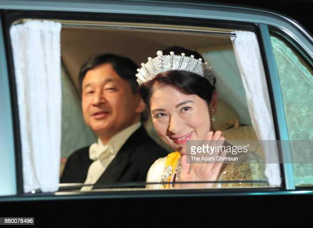 Crown Prince Naruhito and Crown Princess Masako are seen on arrival at the Imperial Palace to attend the state dinner for Grand Duke Henri of...