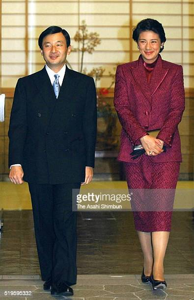 Crown Prince Naruhito and Crown Princess Masako are seen on departure for their visit to New Zealand and Australia at the Togu Palace on December 11...