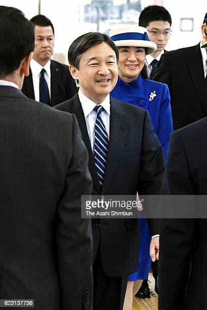 Crown Prince Naruhito and Crown Princess Masako are seen on departure for Tokyo at JR Gifu Hashima Station after their visit to Gifu on November 10...