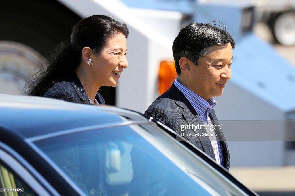 Crown Prince Naruhito and Crown Princess Masako are seen on departure at Haneda International Airport on July 10, 2017 in Tokyo, Japan.