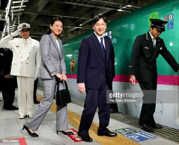 Crown Prince Naruhito and Crown Princess Masako are seen on departure at JR Sendai Station after inspecting disaster area on November 1 2017 in...