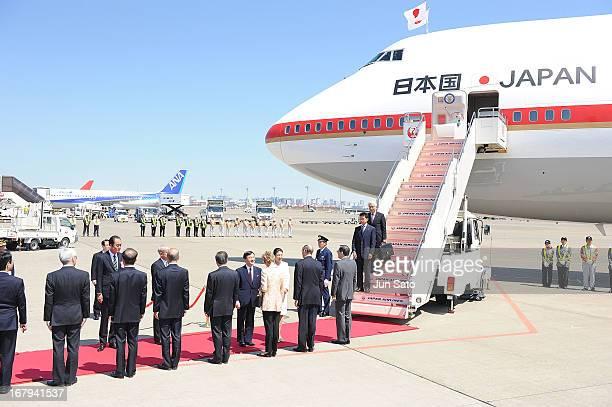 Crown Prince Naruhito and Crown Princess Masako are seen upon arrival at Haneda International Airport on May 3 2013 in Tokyo Japan