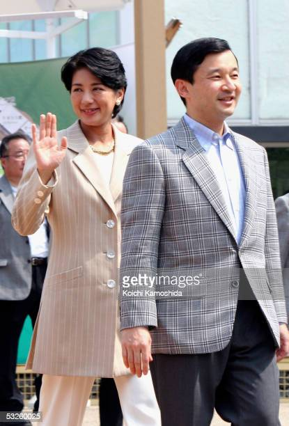 Crown Prince Naruhito and Crown Princess Masako arrive at Global House for the 2005 World Exposition on July 20 2005 in Nagakute Japan It is Crown...