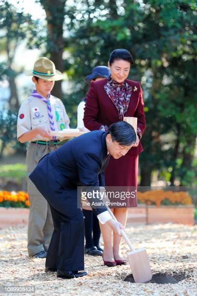 Crown Prince Naruhito and Crown Princess Masako attend a 42nd National Tree Growing Festival event on November 17 2018 in Tokyo Japan