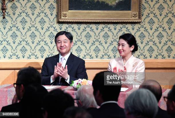 Crown Prince Naruhito and Crown Princess Masako attend the 110th Anniversary ceremony of the Japan Society foundation on April 18 2018 in Tokyo Japan