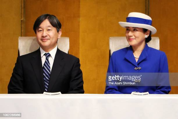 Crown Prince Naruhito and Crown Princess Masako attend the 150th anniversary ceremony of the lighthouse construction in Japan on November 01 2018 in...