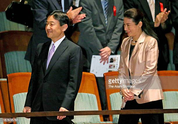 Crown Prince Naruhito and Crown Princess Masako attend the 68th National Arts Festival Opening Performance 'Belshazzar's Feast' at the New National...