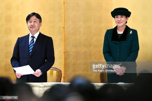 Crown Prince Naruhito and Crown Princess Masako attend the 70th anniversary ceremony of the PTA Foundation on November 21 2018 in Tokyo Japan
