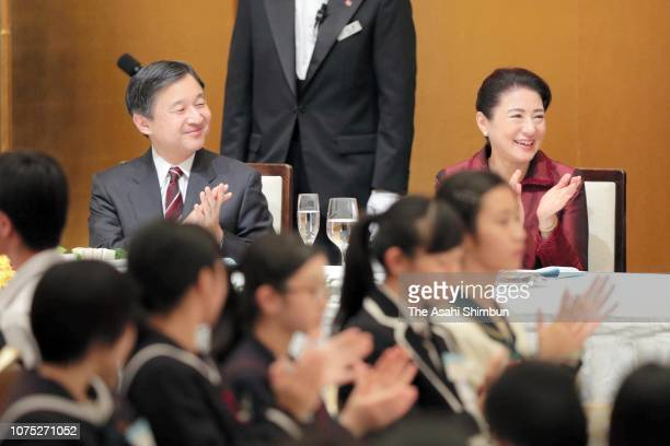 Crown Prince Naruhito and Crown Princess Masako attend the 70th Prince Takamado Trophy All Japan Junior High School English Speech Contest reception...