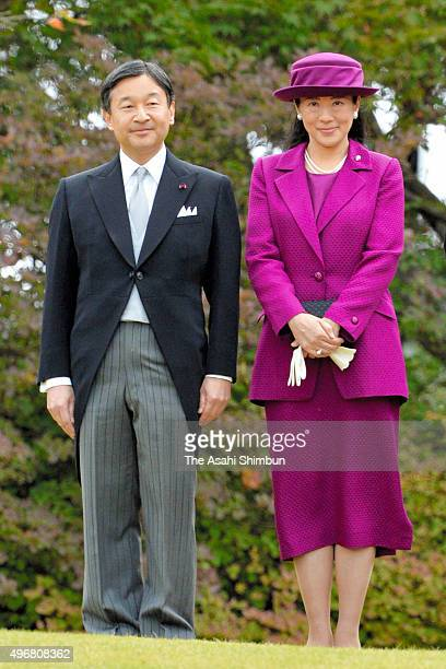 Crown Prince Naruhito and Crown Princess Masako attend the Autumn Garden Party at the Akasaka Imperial Gardens on November 12 2015 in Tokyo Japan...