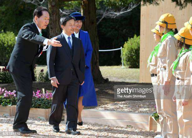 Crown Prince Naruhito and Crown Princess Masako attend the national Tree Growing Festival on November 19 2017 in Mannou Kagawa Japan