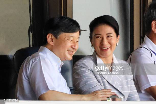 Crown Prince Naruhito and Crown Princess Masako attend the opening ceremony of the 100th Japanese High School Baseball Championship at hanshin...